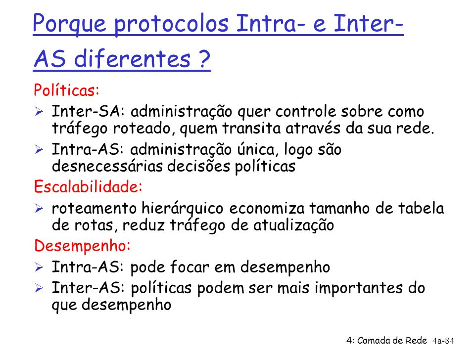 Porque protocolos Intra- e Inter-AS diferentes