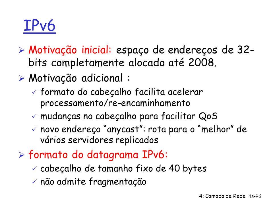 IPv6 Motivação inicial: espaço de endereços de 32-bits completamente alocado até 2008. Motivação adicional :