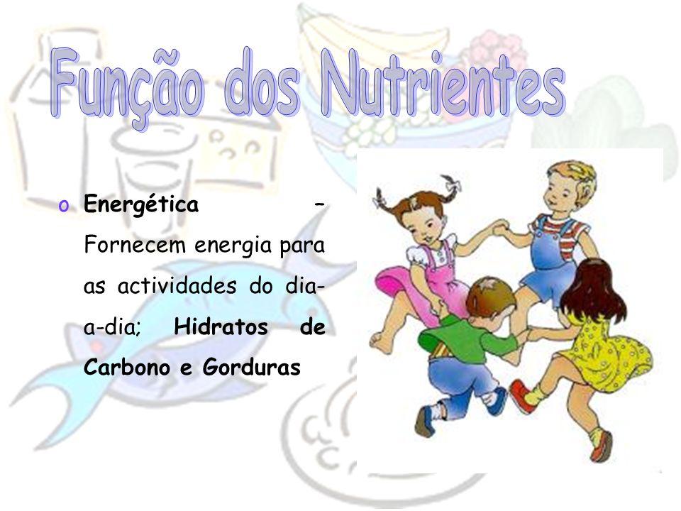 Função dos Nutrientes Energética – Fornecem energia para as actividades do dia-a-dia; Hidratos de Carbono e Gorduras.