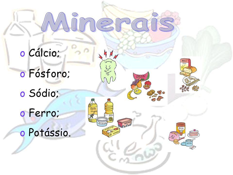Minerais Cálcio; Fósforo; Sódio; Ferro; Potássio.