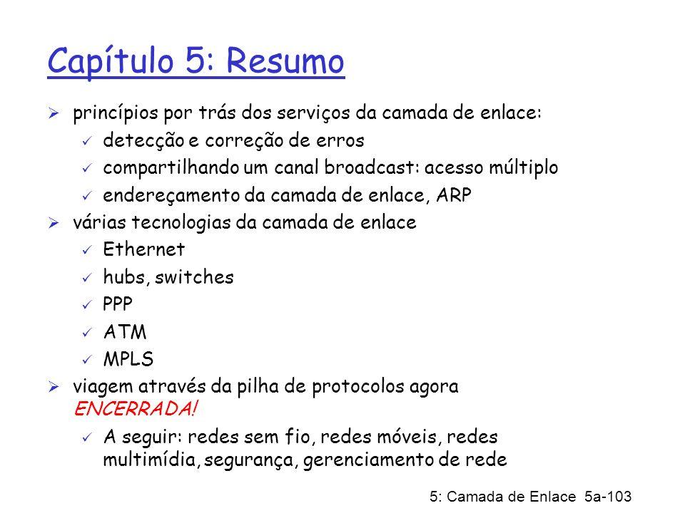 Capítulo 5: Resumoprincípios por trás dos serviços da camada de enlace: detecção e correção de erros.