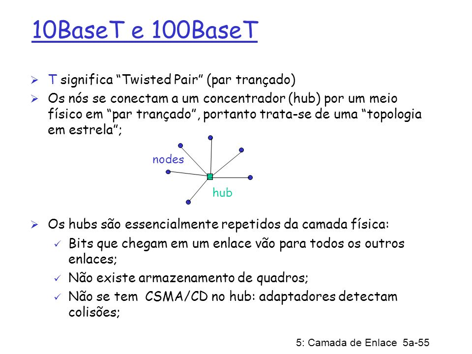 10BaseT e 100BaseT T significa Twisted Pair (par trançado)