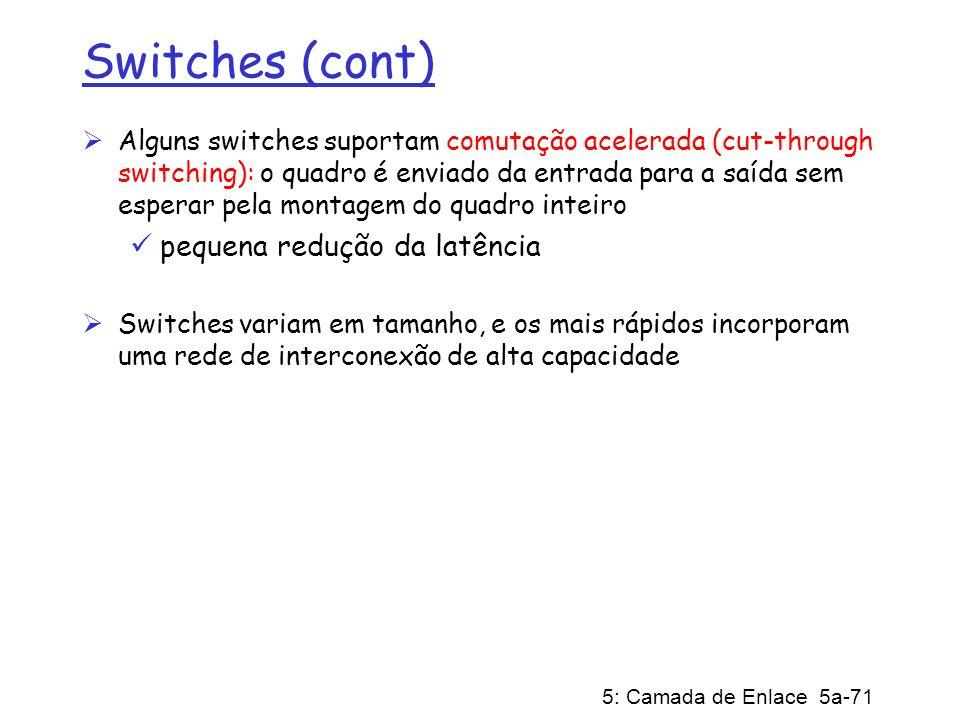 Switches (cont) pequena redução da latência