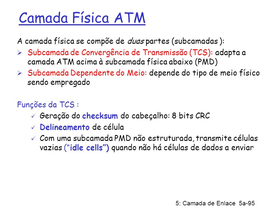Camada Física ATMA camada física se compõe de duas partes (subcamadas ):