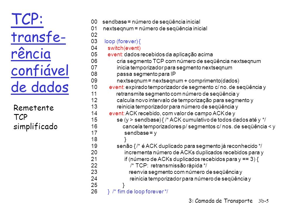 TCP: transfe-rência confiável de dados