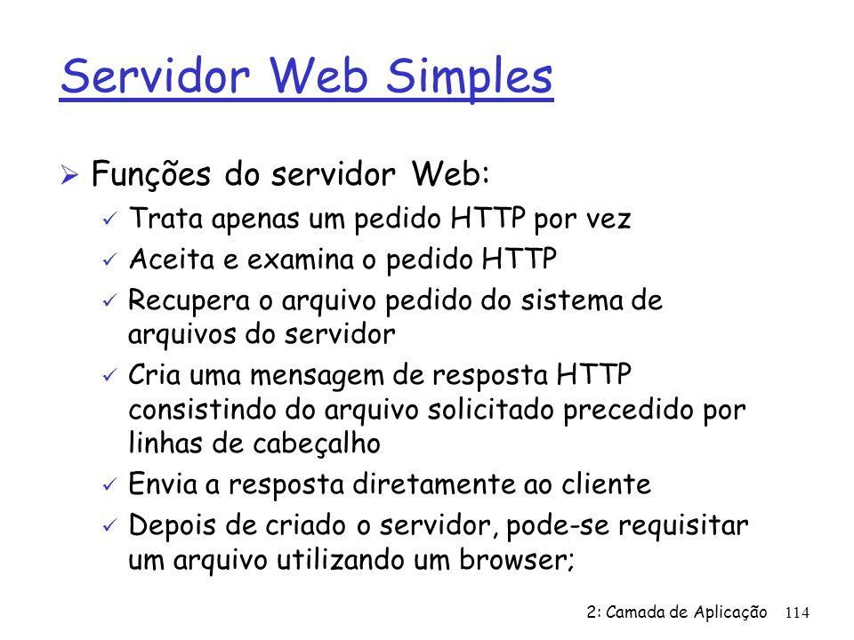 Servidor Web Simples Funções do servidor Web: