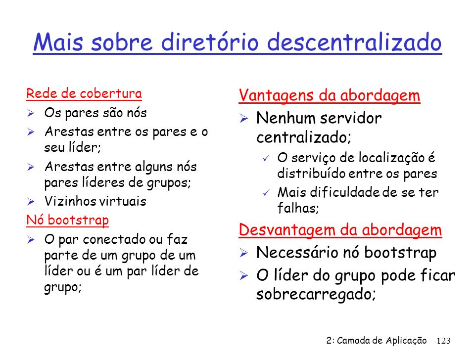 Mais sobre diretório descentralizado
