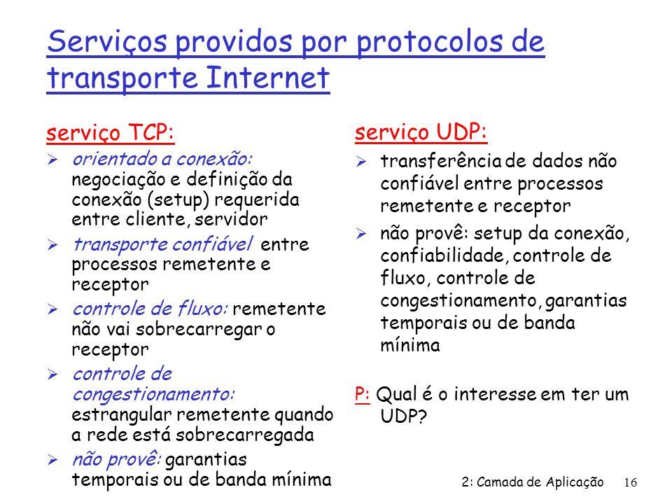 Serviços providos por protocolos de transporte Internet
