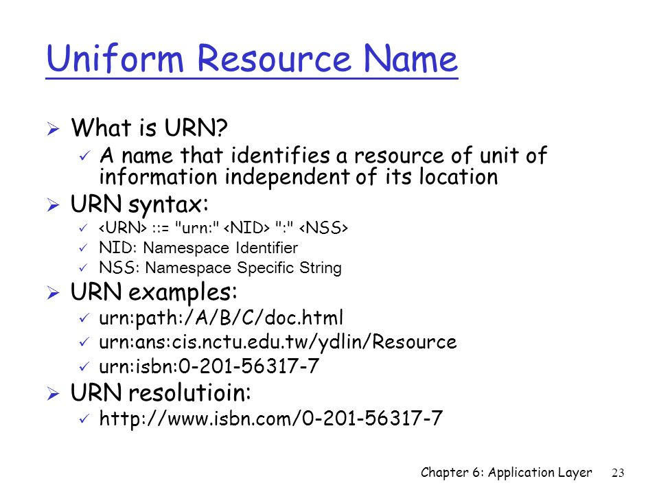 Uniform Resource Name What is URN URN syntax: URN examples: