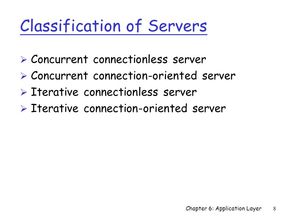 Classification of Servers