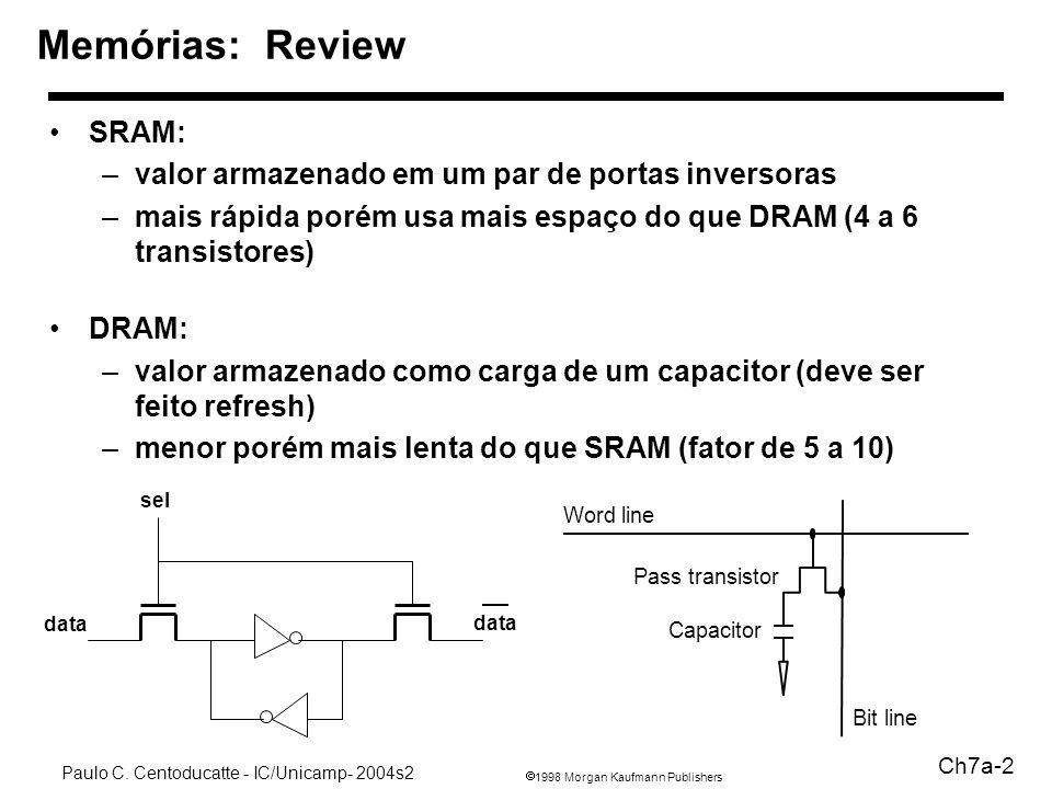 Memórias: Review SRAM: valor armazenado em um par de portas inversoras