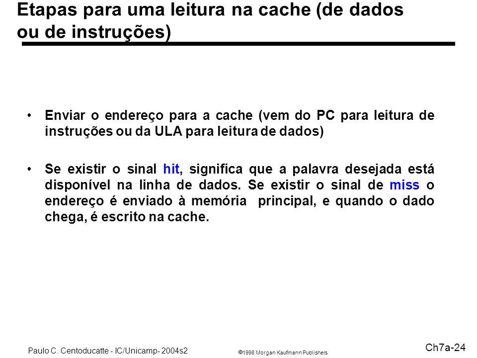 Etapas para uma leitura na cache (de dados ou de instruções)