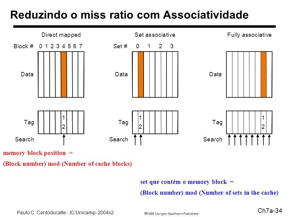 Reduzindo o miss ratio com Associatividade