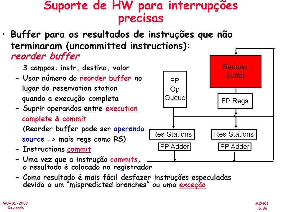 Suporte de HW para interrupções precisas