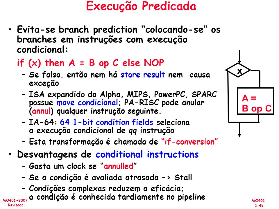 Execução Predicada Evita-se branch prediction colocando-se os branches em instruções com execução condicional: