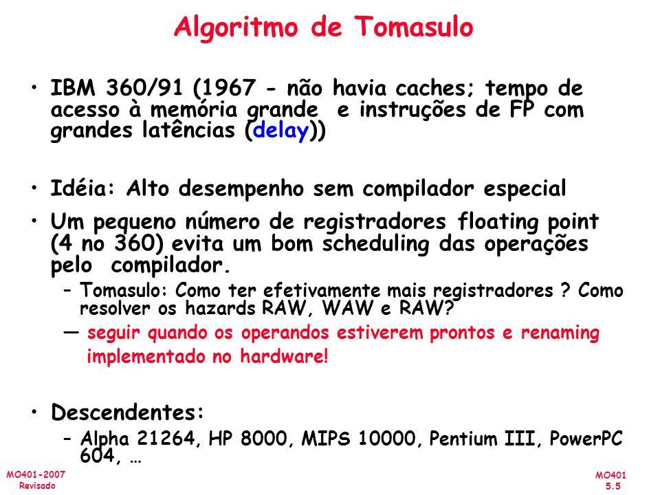 Algoritmo de Tomasulo IBM 360/91 (1967 - não havia caches; tempo de acesso à memória grande e instruções de FP com grandes latências (delay))