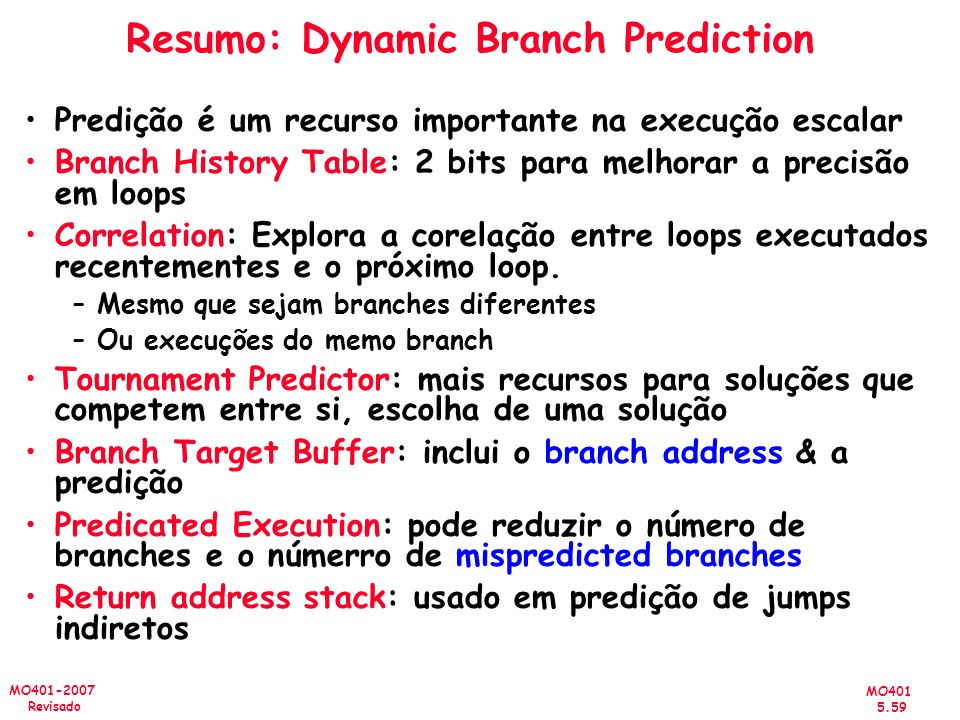 Resumo: Dynamic Branch Prediction