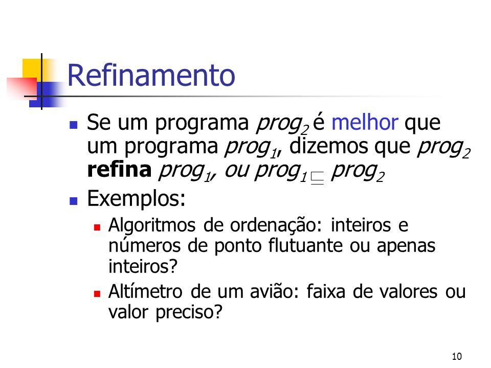 Refinamento Se um programa prog2 é melhor que um programa prog1, dizemos que prog2 refina prog1, ou prog1 prog2.