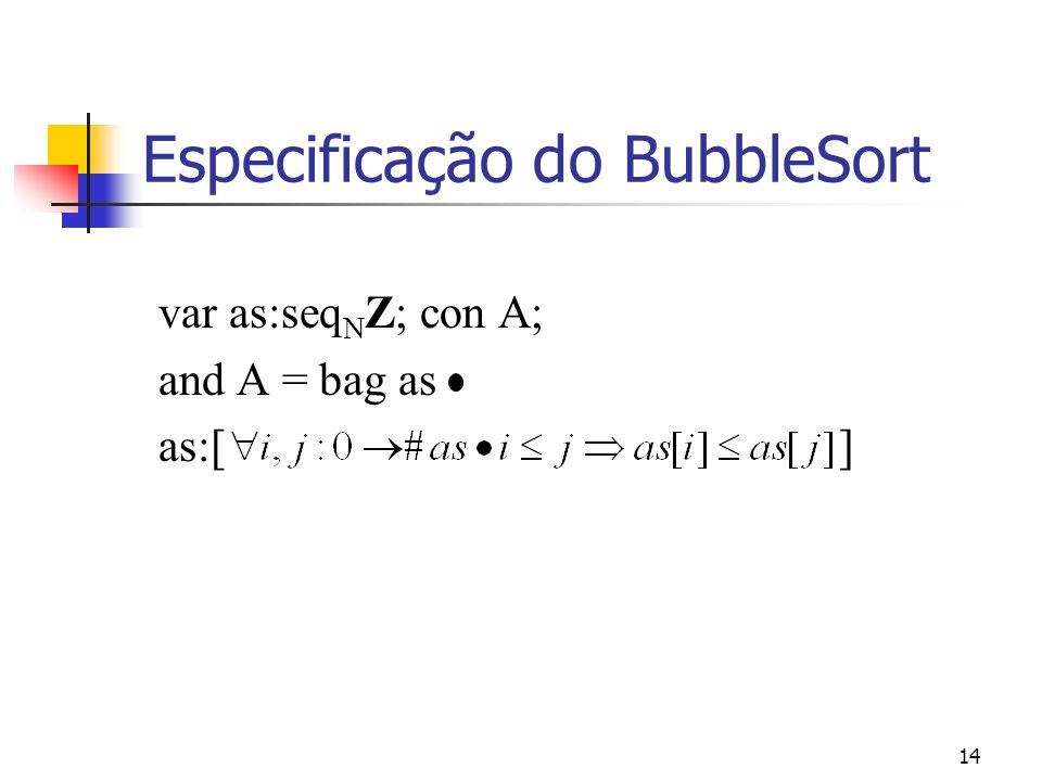 Especificação do BubbleSort