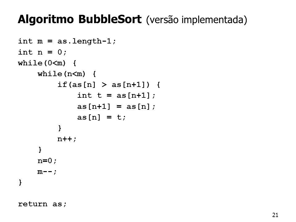Algoritmo BubbleSort (versão implementada)