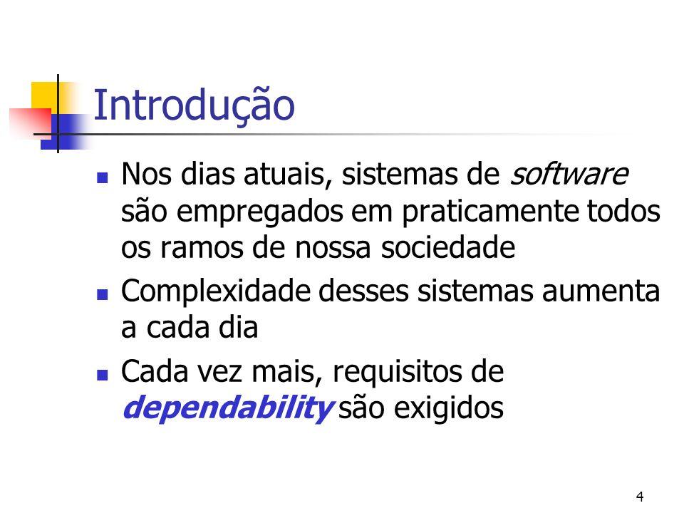 Introdução Nos dias atuais, sistemas de software são empregados em praticamente todos os ramos de nossa sociedade.