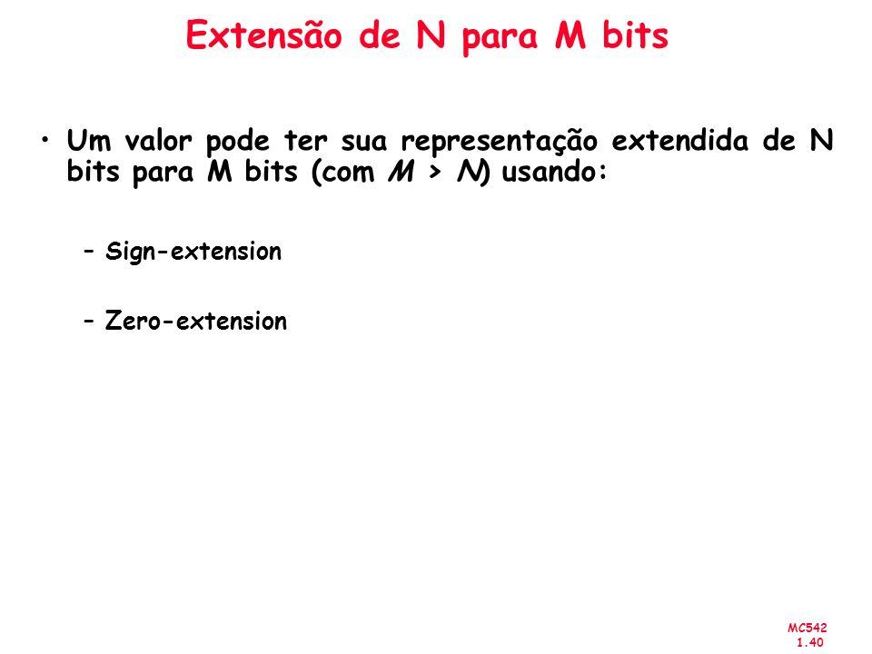 Extensão de N para M bits