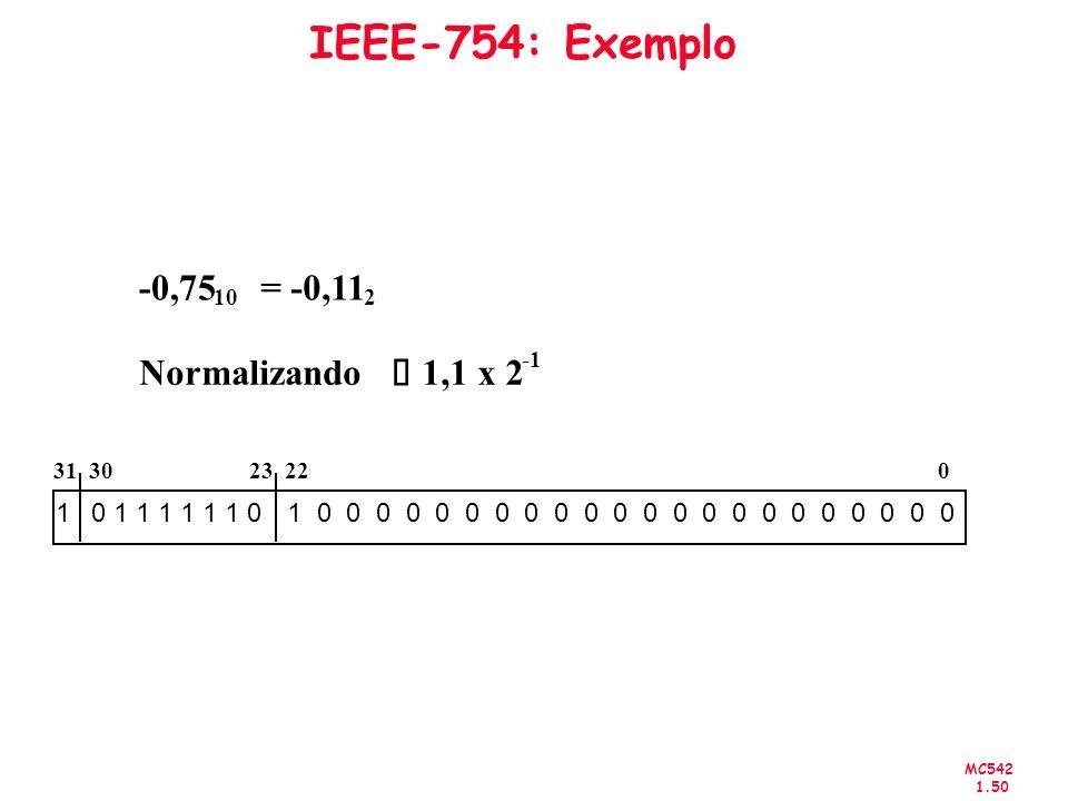 IEEE-754: Exemplo -0,75 = -0,11 Normalizando è 1,1 x 2 0 1 1 1 1 1 1 0
