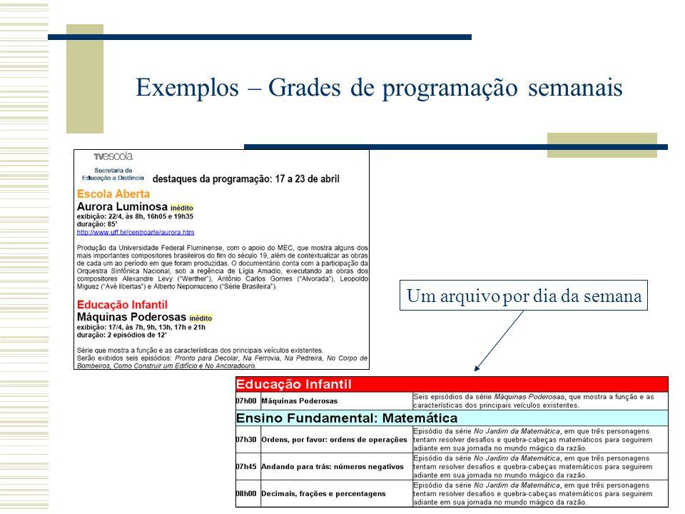 Exemplos – Grades de programação semanais