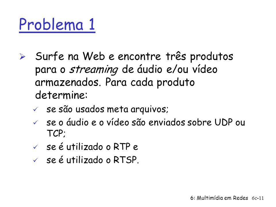 Problema 1 Surfe na Web e encontre três produtos para o streaming de áudio e/ou vídeo armazenados. Para cada produto determine: