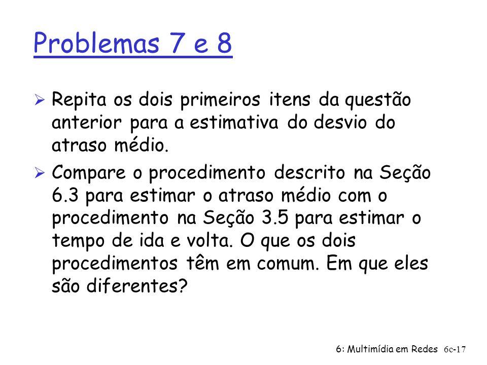 Problemas 7 e 8 Repita os dois primeiros itens da questão anterior para a estimativa do desvio do atraso médio.