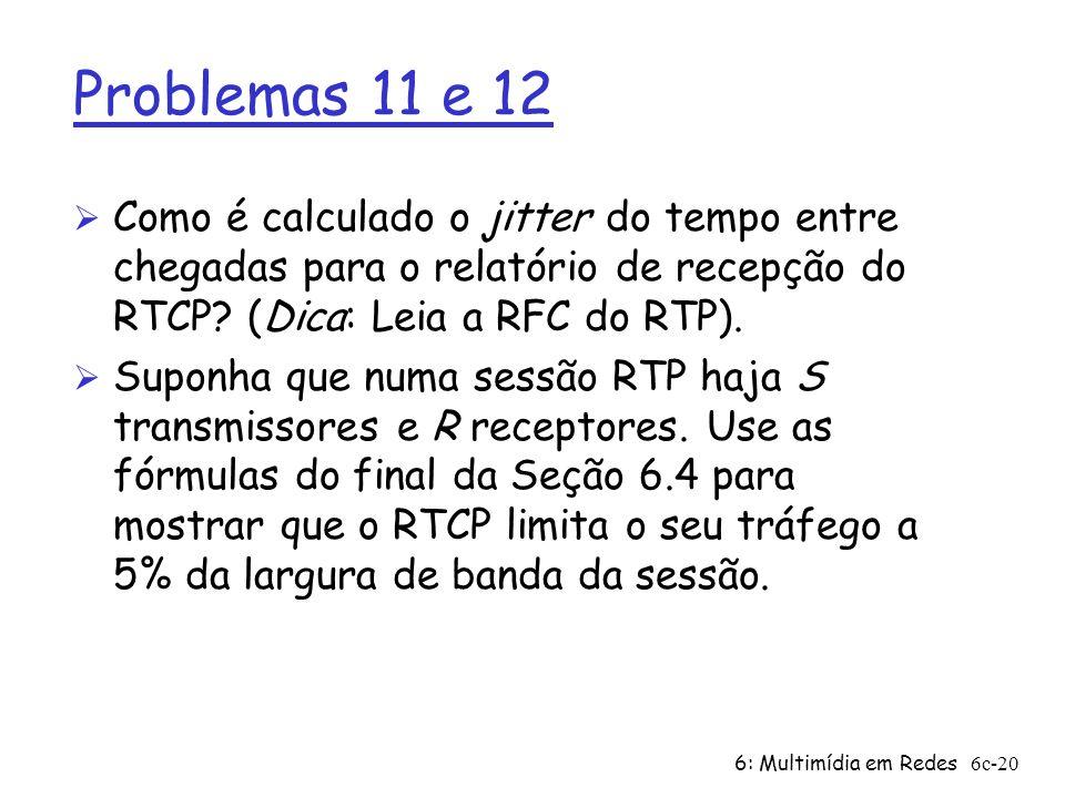Problemas 11 e 12 Como é calculado o jitter do tempo entre chegadas para o relatório de recepção do RTCP (Dica: Leia a RFC do RTP).