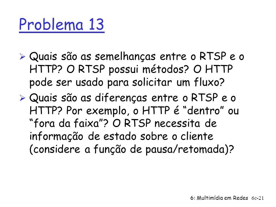Problema 13 Quais são as semelhanças entre o RTSP e o HTTP O RTSP possui métodos O HTTP pode ser usado para solicitar um fluxo