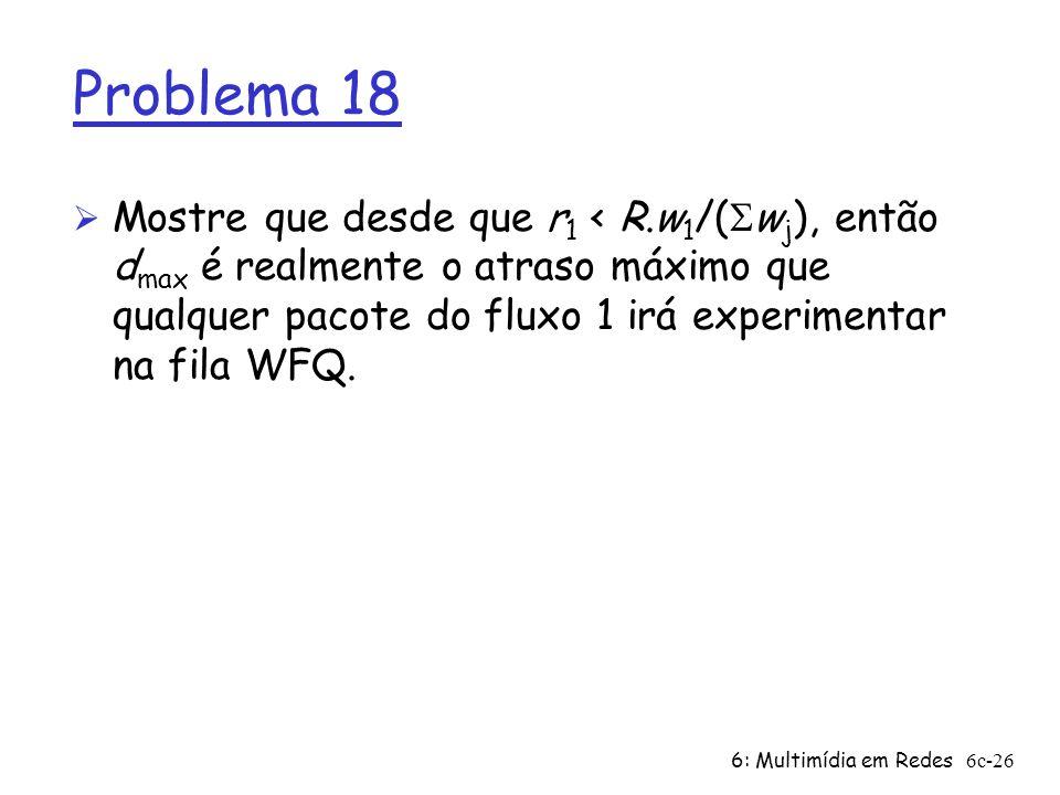 Problema 18 Mostre que desde que r1 < R.w1/(Swj), então dmax é realmente o atraso máximo que qualquer pacote do fluxo 1 irá experimentar na fila WFQ.