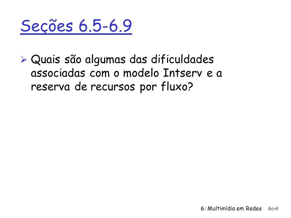 Seções 6.5-6.9 Quais são algumas das dificuldades associadas com o modelo Intserv e a reserva de recursos por fluxo