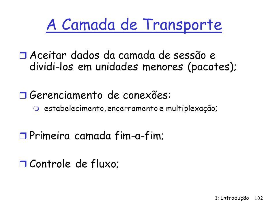 A Camada de Transporte Aceitar dados da camada de sessão e dividi-los em unidades menores (pacotes);