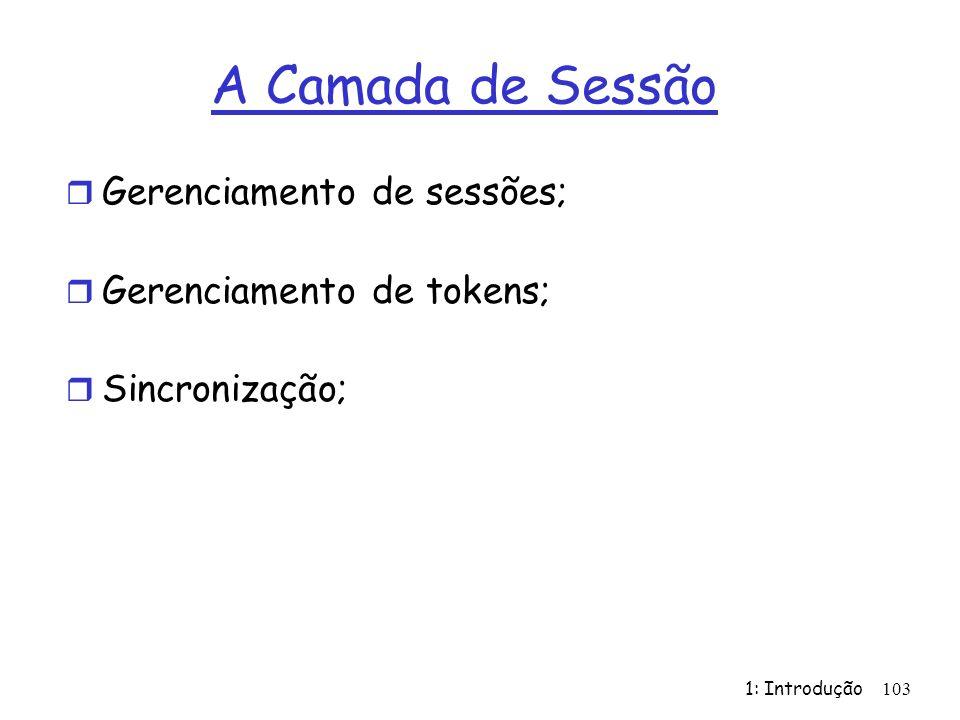 A Camada de Sessão Gerenciamento de sessões; Gerenciamento de tokens;