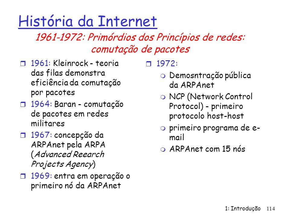 1961-1972: Primórdios dos Princípios de redes: comutação de pacotes