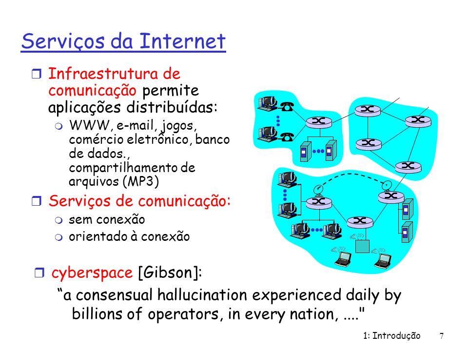 Serviços da Internet Infraestrutura de comunicação permite aplicações distribuídas: