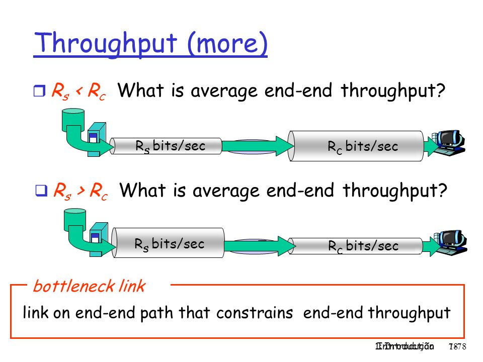 Throughput (more) Rs < Rc What is average end-end throughput