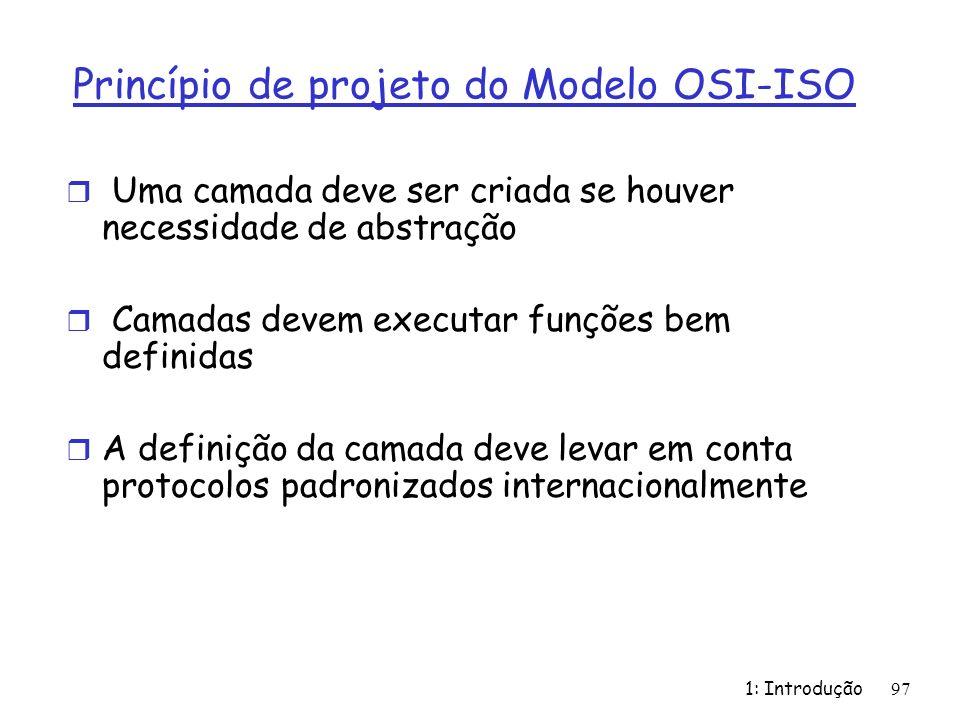 Princípio de projeto do Modelo OSI-ISO