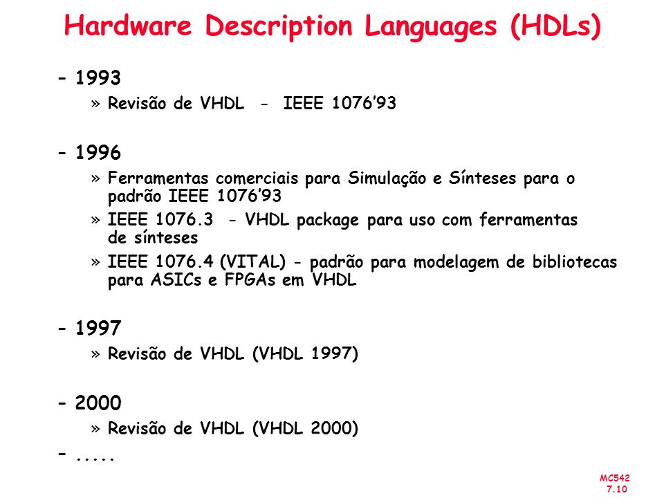 Hardware Description Languages (HDLs)