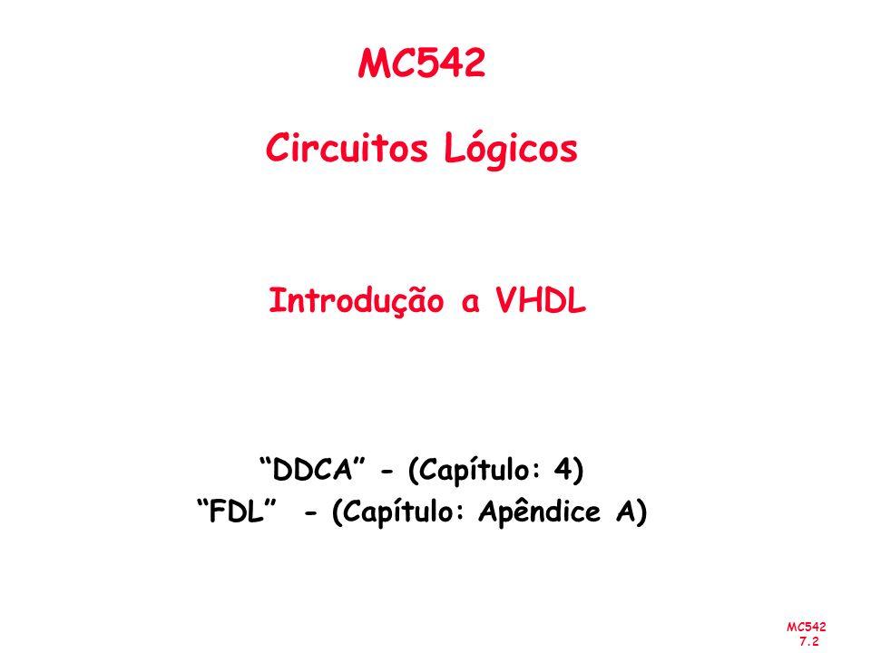 MC542 Circuitos Lógicos Introdução a VHDL