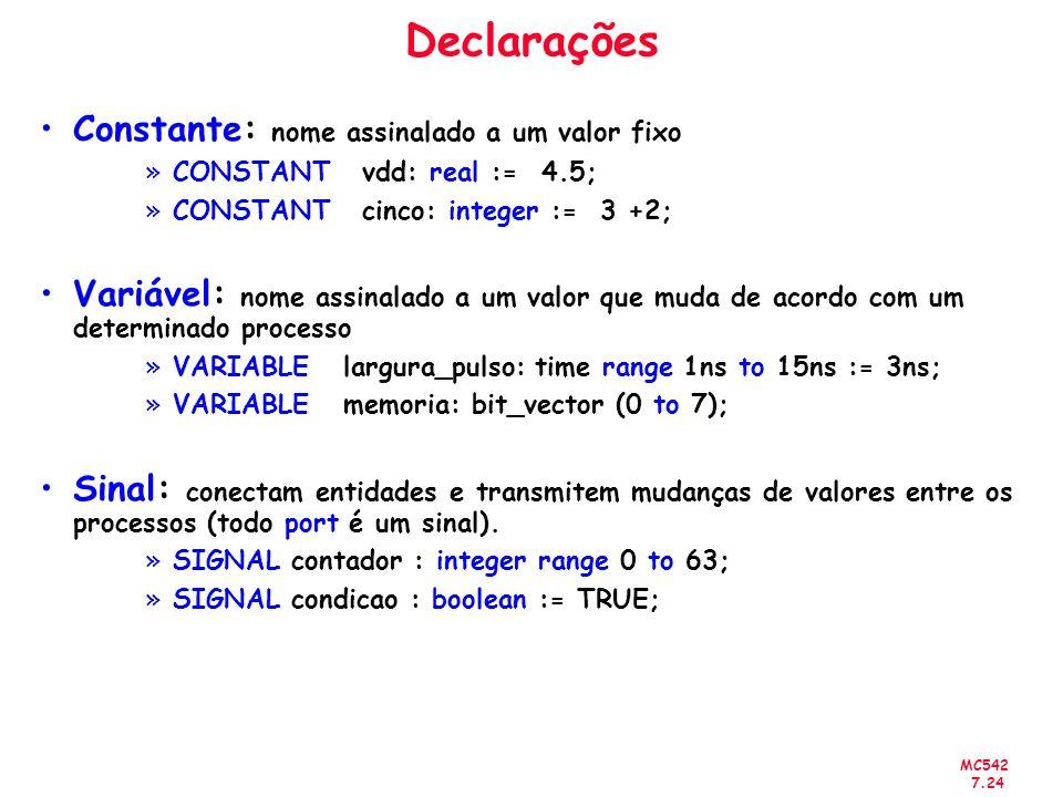 Declarações Constante: nome assinalado a um valor fixo
