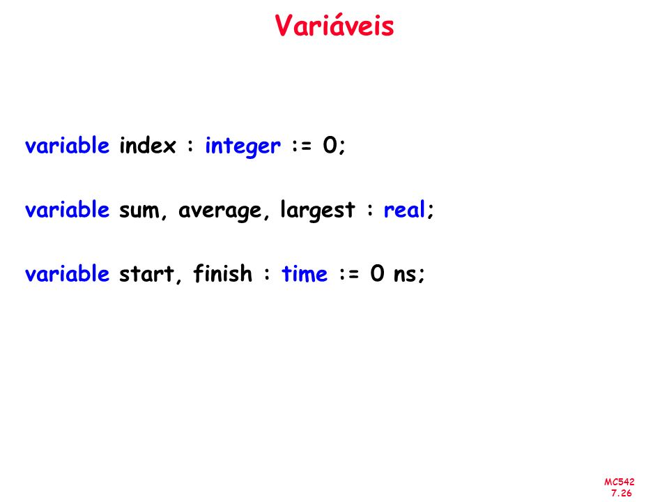 Variáveis variable index : integer := 0;