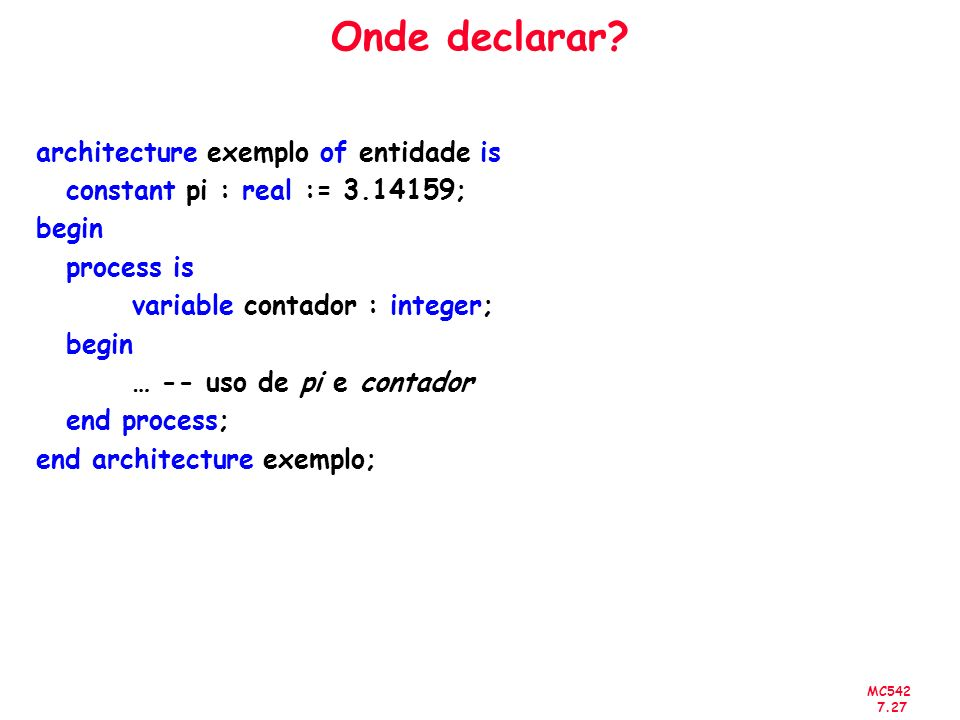 Onde declarar architecture exemplo of entidade is