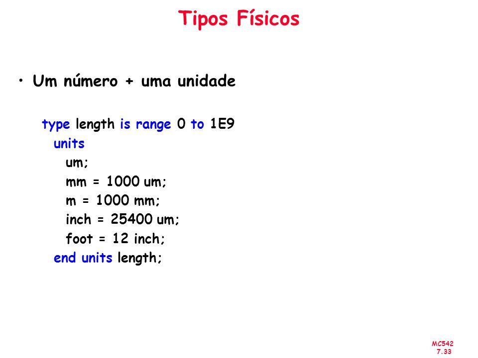 Tipos Físicos Um número + uma unidade type length is range 0 to 1E9