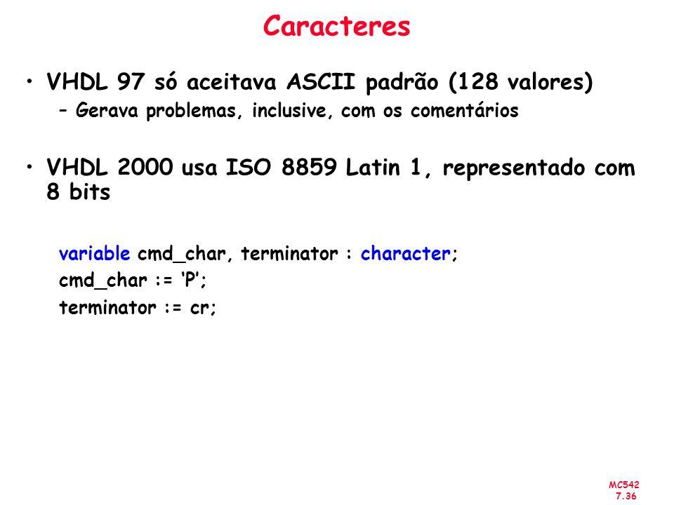 Caracteres VHDL 97 só aceitava ASCII padrão (128 valores)