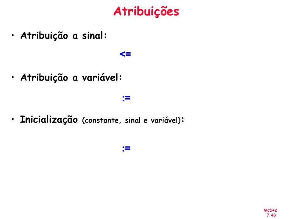 Atribuições Atribuição a sinal: <= Atribuição a variável: