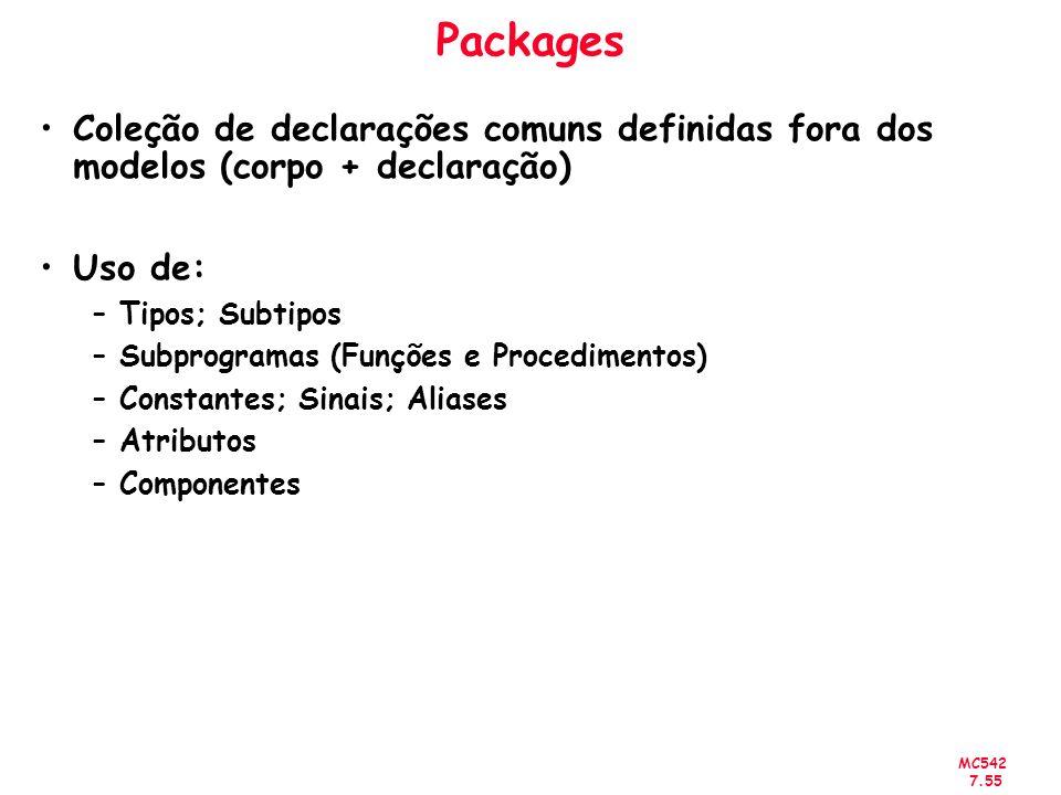 Packages Coleção de declarações comuns definidas fora dos modelos (corpo + declaração) Uso de: Tipos; Subtipos.