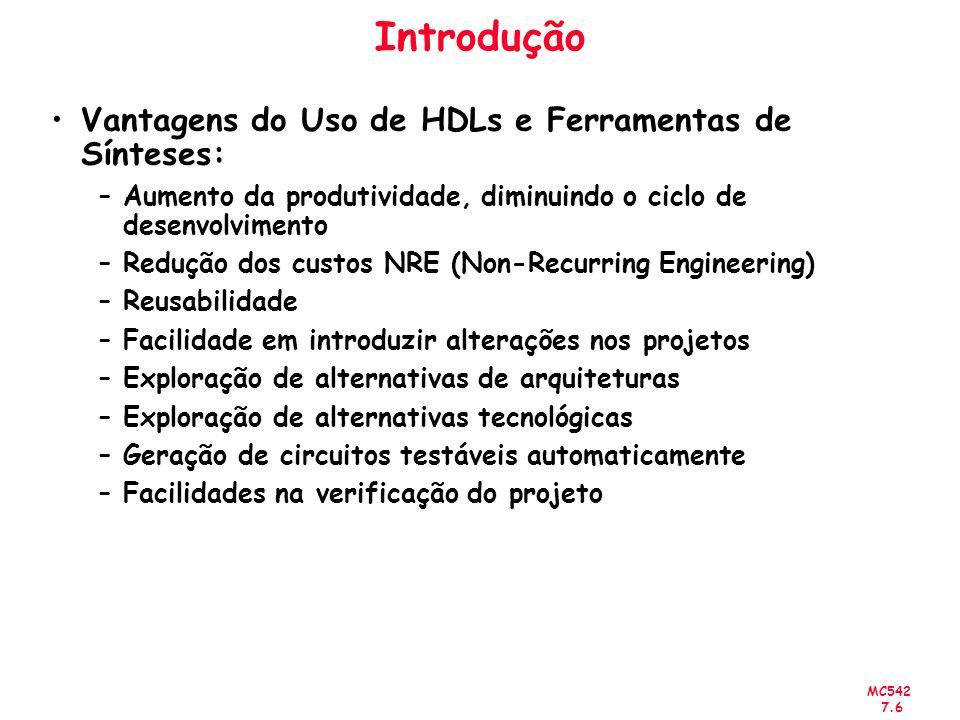 Introdução Vantagens do Uso de HDLs e Ferramentas de Sínteses: